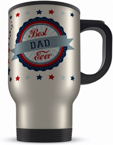 14oz Best Ever Male Relations Novelty Gift Aluminium Travel Mug - Blue/Red